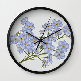 Little Blue Flowers Illustration / Forget Me Nots Wall Clock