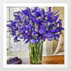 Irises in Vase Art Print