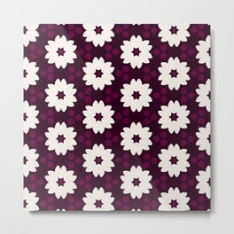 Abstract Decorative Pattern 28 - Puple red, White Metal Print