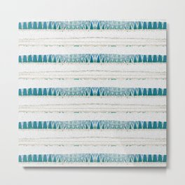 Turquoise Neo Tribal Minimalism Stripes Lines Metal Print