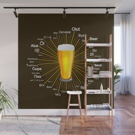 """""""Beer"""" in 45 different languages Wall Mural"""