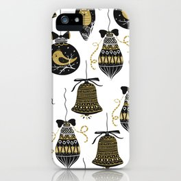 Black and Gold Modern Christmas Ornament Print iPhone Case