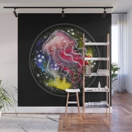 Watercolor Galaxy Jellyfish Wall Mural