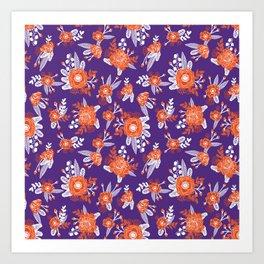 University football fan alumni clemson orange and purple floral flowers gifts Art Print