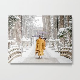 Japanese Buddhist Monks in Winter Metal Print
