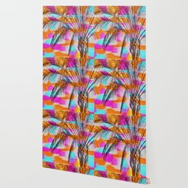 palm tree with colorful painting abstract background in pink orange blue Wallpaper