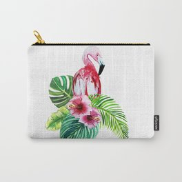 set of watercolor prints of exotic leaves and pink flowers with pink flamingos Carry-All Pouch