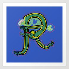 Medieval Frog Letter R Blue 2017 Art Print