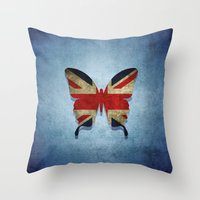 union jack Throw Pillows featuring union & jack by Steffi Louis