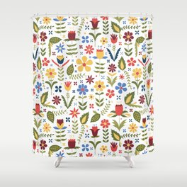 folky floral pattern Shower Curtain