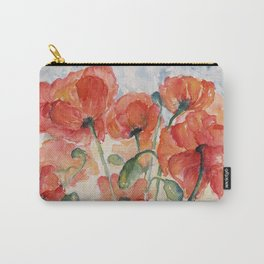Burnt Orange Salmon Field of Poppies watercolour by CheyAnne Sexton Carry-All Pouch