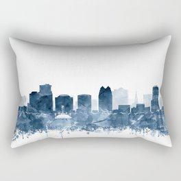 Orlando Skyline Watercolor Navy Blue by Zouzounio Art Rectangular Pillow