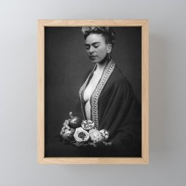 Frida Kahlo Portrait with fruit from Frida's Garden at Casa Azul, Mexico black and white photograph Framed Mini Art Print
