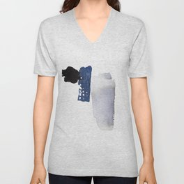 Navy Blue Abstract Unisex V-Neck