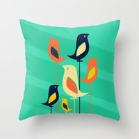 mid century Throw Pillows featuring Mid Century Birds by Sam Osborne