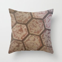 Weathered Honeycomb Tile Throw Pillow