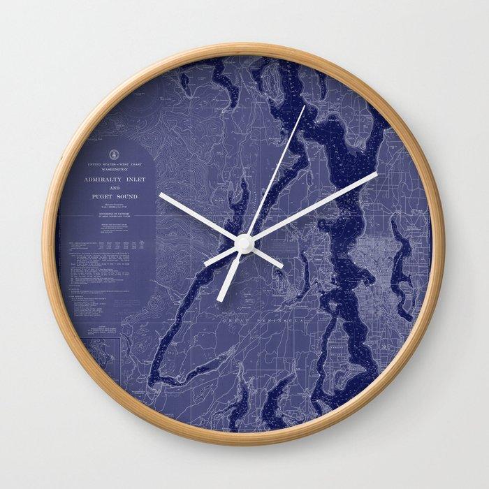 Puget Sound Washington State Nautical Chart Map Print 1956 Dark Blue, Map  Art Prints Wall Clock by chartedwaters