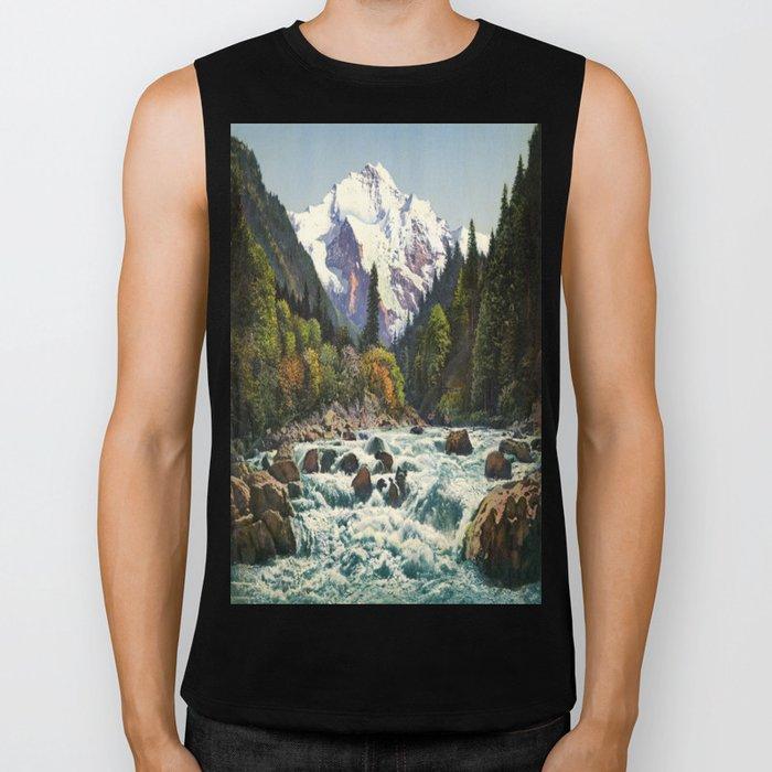 Mountains Forest Rocky River Biker Tank