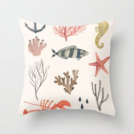 Sealife Schoolchart Throw Pillow