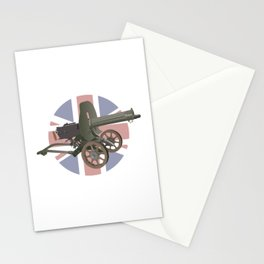 Maxim Gun with British Flag Stationery Cards
