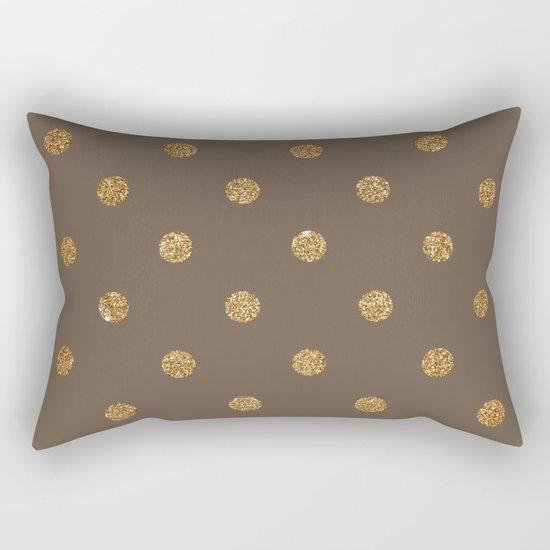 Brown Gold Glitter Dots Rectangular Pillow