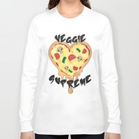 vegetarian Long Sleeve T-shirts featuring Veggie Supreme - Deluxe Vegetarian Heart Shaped Pizza  by MagicCircle