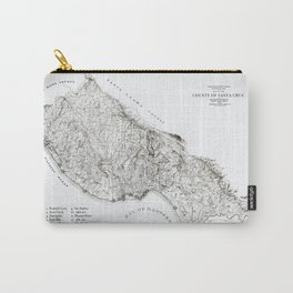 Santa Cruz Surf Map, 1938 Map featuring all the best surf spots! Surf Art & Home Decor Carry-All Pouch