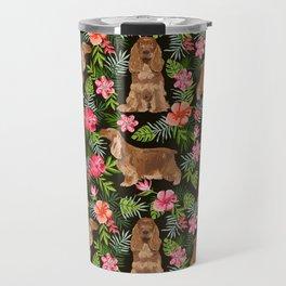 Cocker Spaniel hawaiian tropical print with dog breeds cocker spaniels Travel Mug