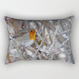 Robin in Winter | Rotkehlchen im Winter Rectangular Pillow