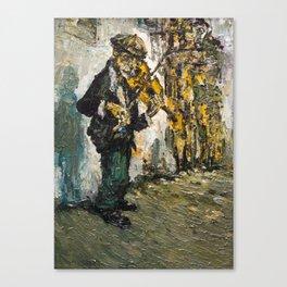 street musician playing on violin Canvas Print