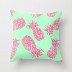 Pineapple Pattern - Mint & Crimson Throw Pillow