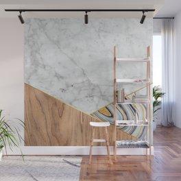 Geometric White Marble - Wood & Blue Marble #782 Wall Mural