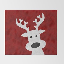 Christmas reindeer red marble Throw Blanket