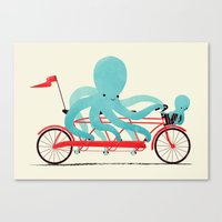 bike Canvas Prints featuring My Red Bike by Jay Fleck