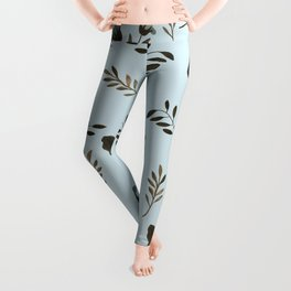 Pale Blue Bluebells and Bluebirds Floral Pattern Flowers in Blue and Bark Brown Leggings