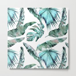 Tropical Palm Leaves Blue Green on White Metal Print