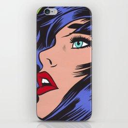 Blue Pop Art Comic Girl iPhone Skin