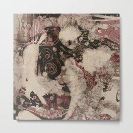 Blurry face skull art print Metal Print