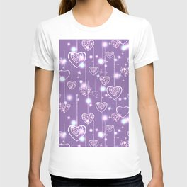 Bright openwork hearts on a lilac background. T-shirt