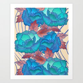 Peonies and Stripes Pattern - Blue, Purple,Yellow Art Print