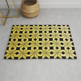 Golden Snow, Snowflakes #02 Rug