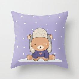 Kawaii Cute Winter Bear Throw Pillow