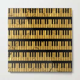 Golden Piano Keys Metal Print