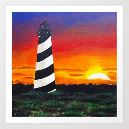Cape Hatteras Lighthouse Painting Art Print