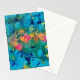 """""""unknown years"""" abstract art in teal, pink, yellow,green and turquoise Stationery Cards"""