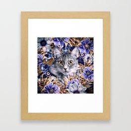 Cat in Flowers. Autumn Framed Art Print