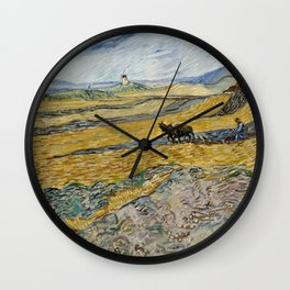 "Vincent van Gogh ""Enclosed field with ploughman"" Wall Clock"
