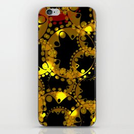 abstract glowing pattern of gears and spheres in red gold on a black background for fabrics o iPhone Skin