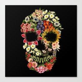 Floral Skull Vintage Black Canvas Print