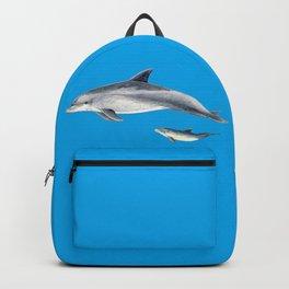 Bottlenose dolphin blue background Backpack
